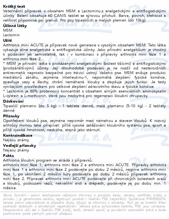 Arthronis mini ACUTE CANIS sýrová příchuť tbl.60