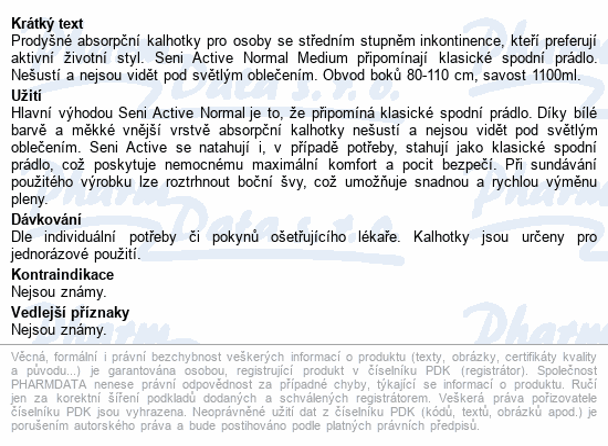 Seni Active Normal Medium ink.plen.kalhotky 10ks