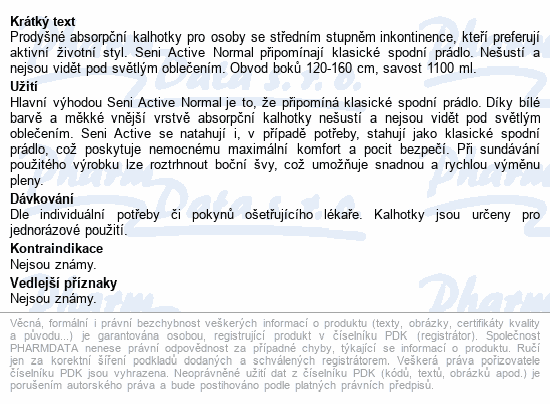 Seni Active Normal Extra Large 10ks ink.plen.kalh.