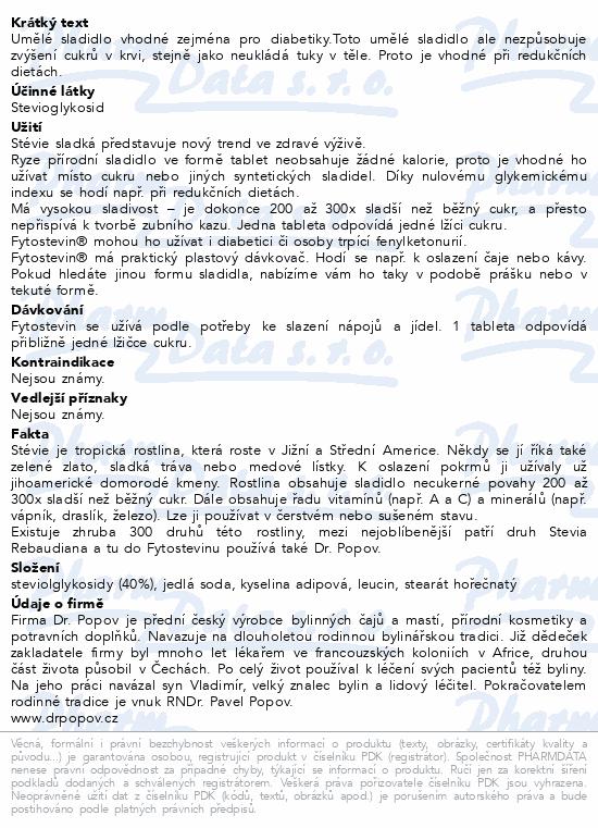 Dr.Popov Fytostevin sladidlo ze stévie tbl.200