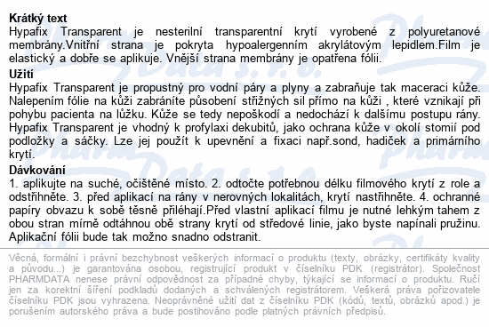 Hypafix Transparent 5cmx10m fóliové krytí role 1ks