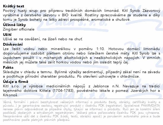 Kitl Syrob Zázvorový 500ml