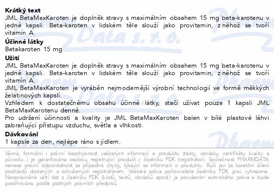 JML BetaMaxKaroten 15mg cps.120
