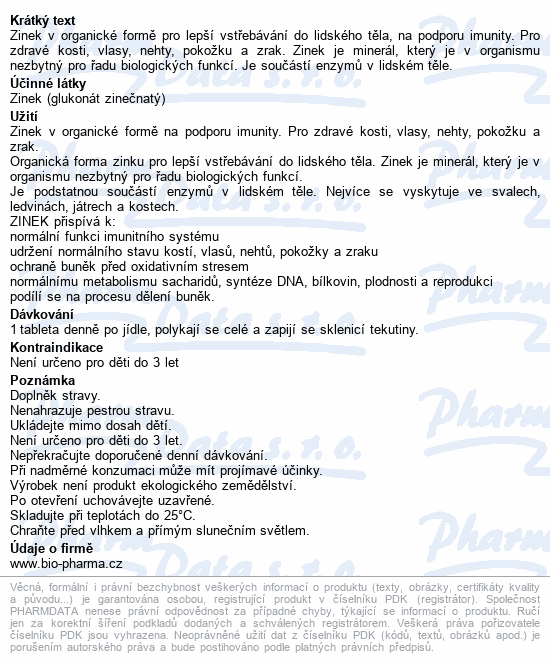 Zinek glukonát 15mg tbl.100+50 BIO-Pharma