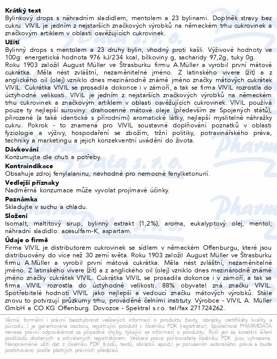 Vivil Byliny+mentol proti kašli bez cukru 80g