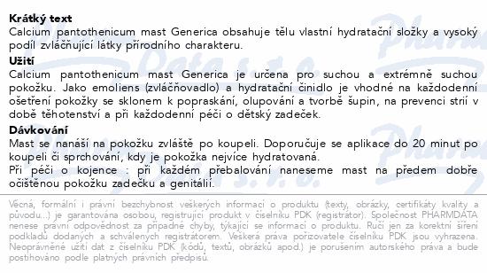Calcium pantothenicum mast Generica 100g