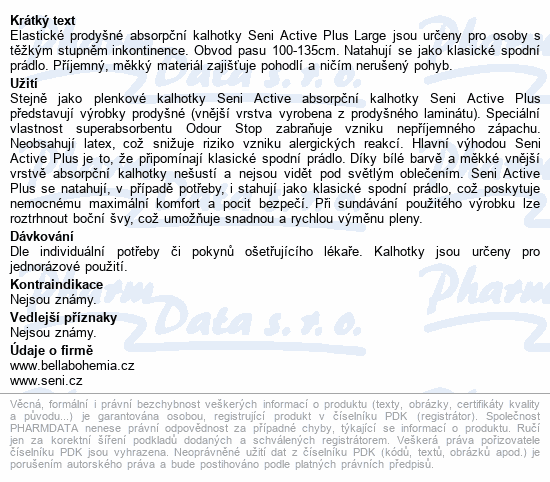 Seni Active Plus Large ink.plen.kalhotky 10ks