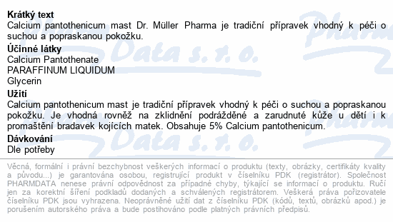 Calcium pantothenicum mast 100g Dr. Müller