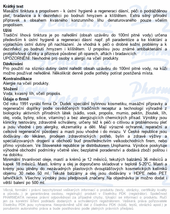DR.DUDEK Propolisová tinktura přírodní 30ml