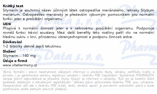 VitaHarmony Ostrop.Marián.Silymarin 140mg tob.70