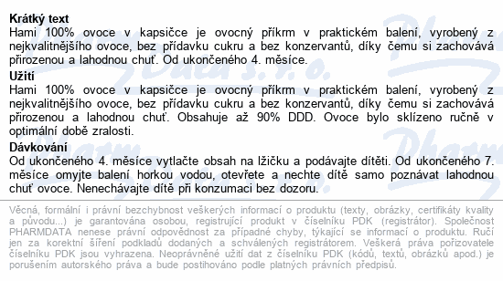 Hami příkrm OK Jablíčko Hruška 90g