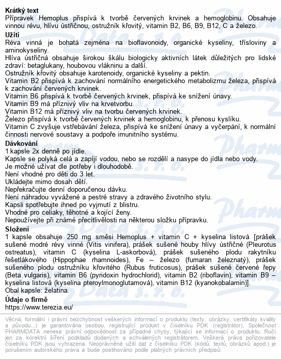 TEREZIA Hemoplus+kyselina listová cps.60