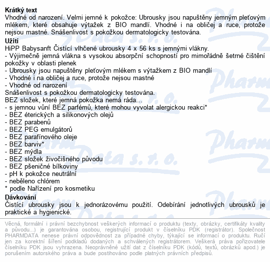 HiPP BABYSANFT Čist.vlh.ubrousky 4x56ks