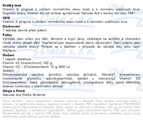 Vitamín K2 (100mcg) tbl.30