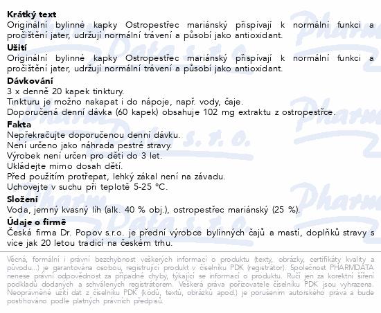 Dr.Popov Kapky bylinné Ostropestřec mariánský 50ml