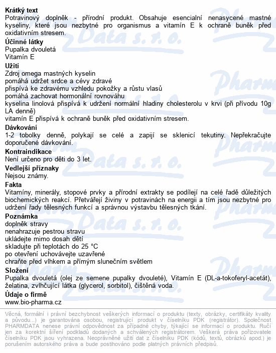 Pupalka dv.500mg Vit.E 50mg tob.30+9 BIO-Pharma