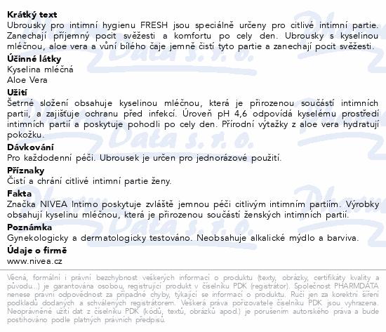 NIVEA ubrousky pro intimní hyg.Fresh 20ks 82177