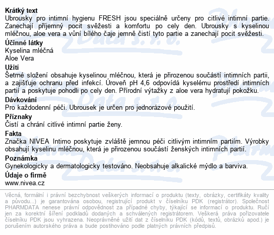 NIVEA Ubrousky pro intimní hyg. Fresh 20ks č.82177