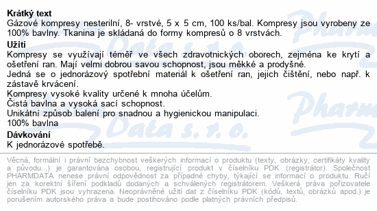 Curi-Med Gáza kompr.nester. 5x5cm 100ks