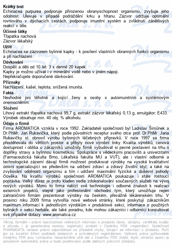 AROMATICA Echinacea se zázvorem bylin.kapky 50ml