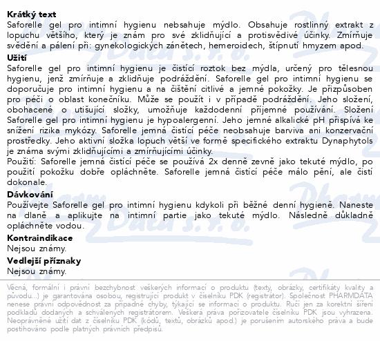 SAFORELLE gel pro intimní hygienu 100ml